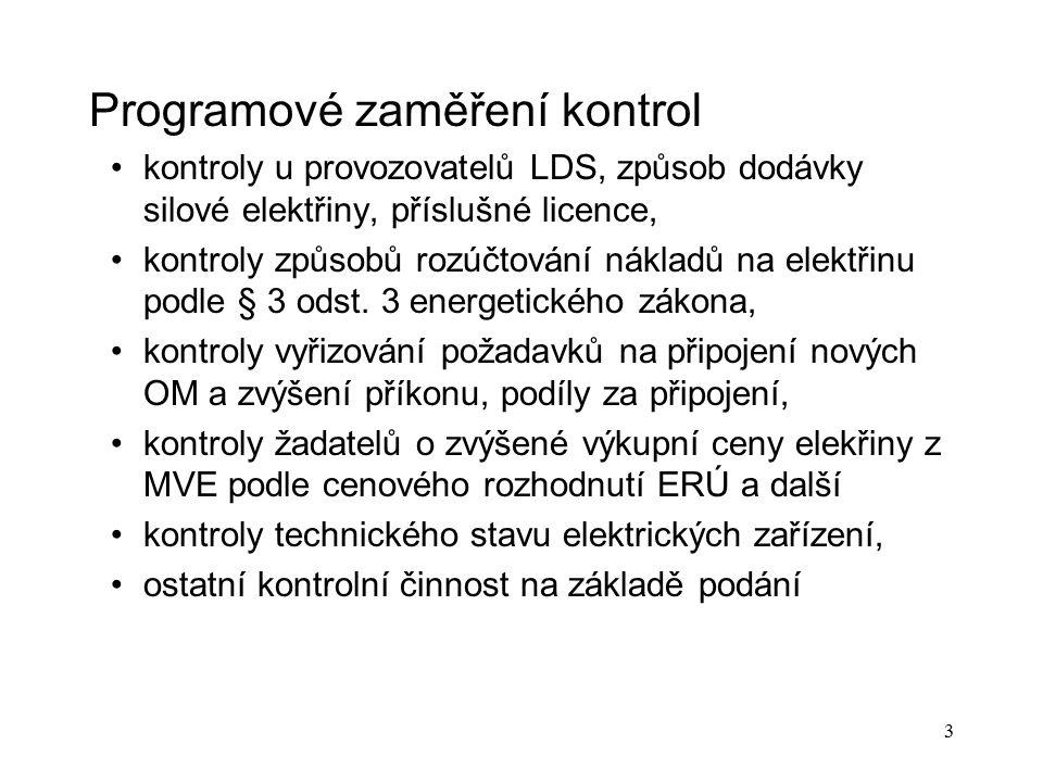 3 Programové zaměření kontrol kontroly u provozovatelů LDS, způsob dodávky silové elektřiny, příslušné licence, kontroly způsobů rozúčtování nákladů n