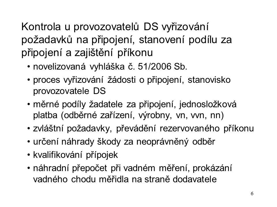 6 Kontrola u provozovatelů DS vyřizování požadavků na připojení, stanovení podílu za připojení a zajištění příkonu novelizovaná vyhláška č. 51/2006 Sb