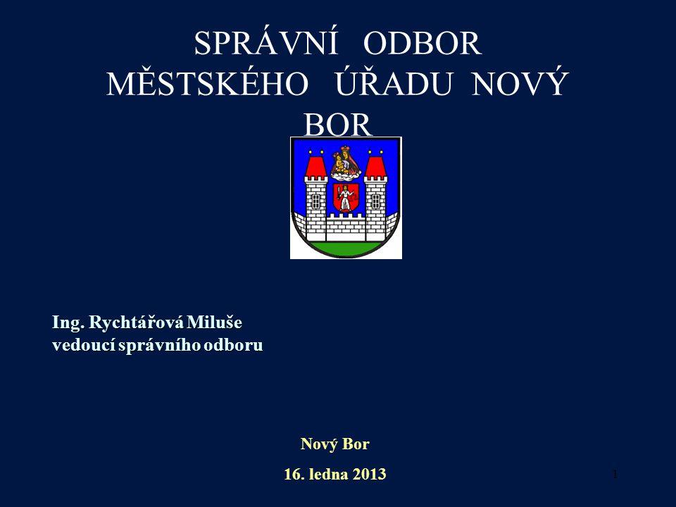 1 SPRÁVNÍ ODBOR MĚSTSKÉHO ÚŘADU NOVÝ BOR Ing. Rychtářová Miluše vedoucí správního odboru Nový Bor 16. ledna 2013