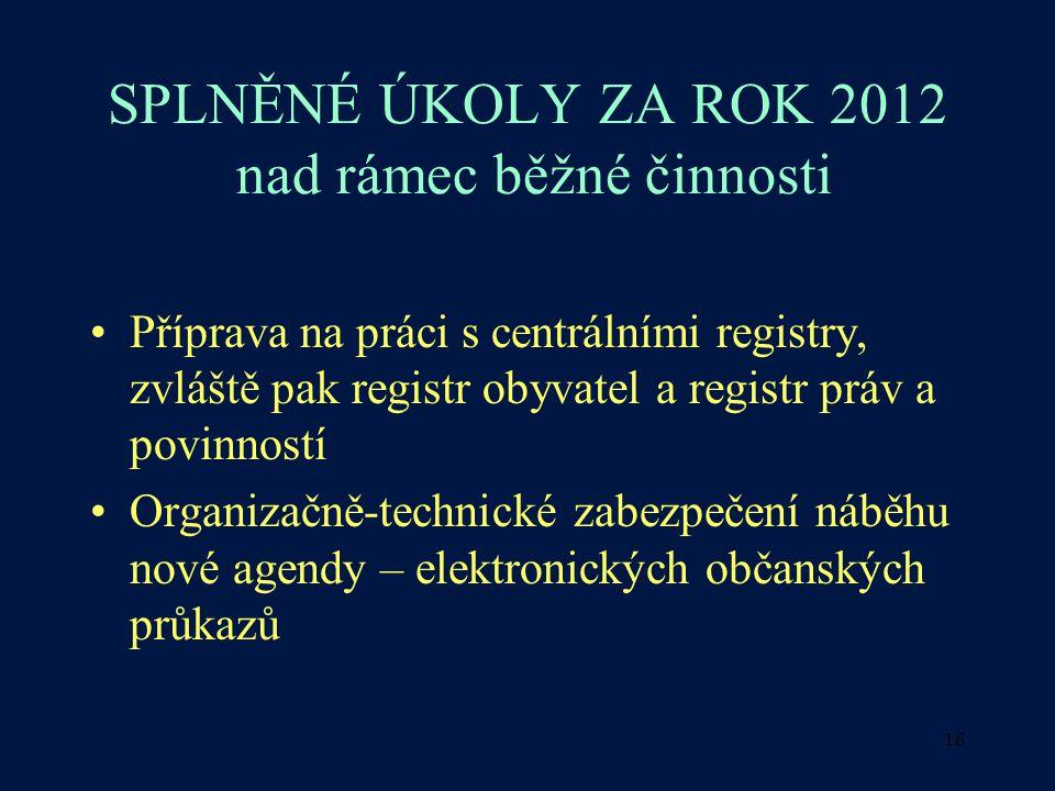 16 SPLNĚNÉ ÚKOLY ZA ROK 2012 nad rámec běžné činnosti Příprava na práci s centrálními registry, zvláště pak registr obyvatel a registr práv a povinnos