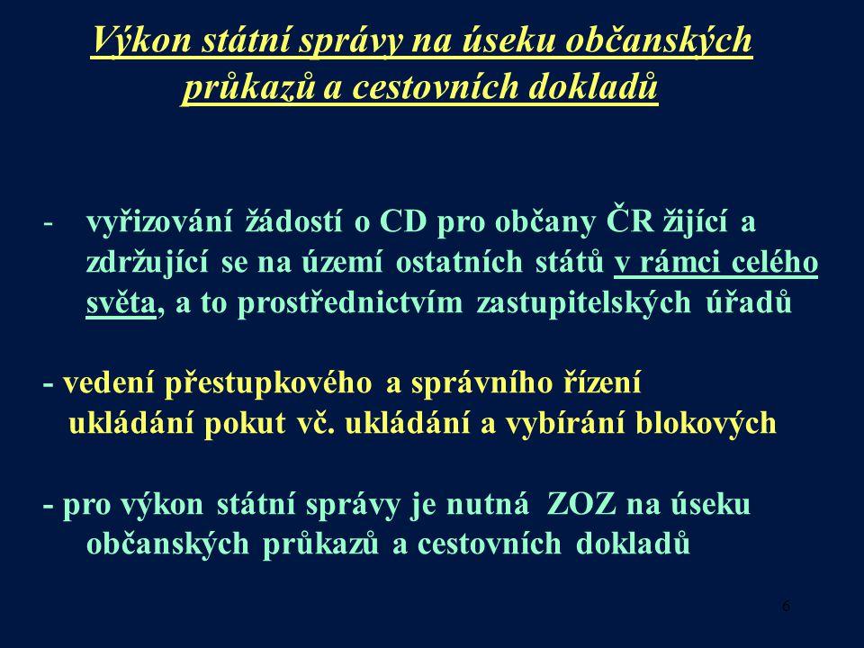 6 Výkon státní správy na úseku občanských průkazů a cestovních dokladů -vyřizování žádostí o CD pro občany ČR žijící a zdržující se na území ostatních