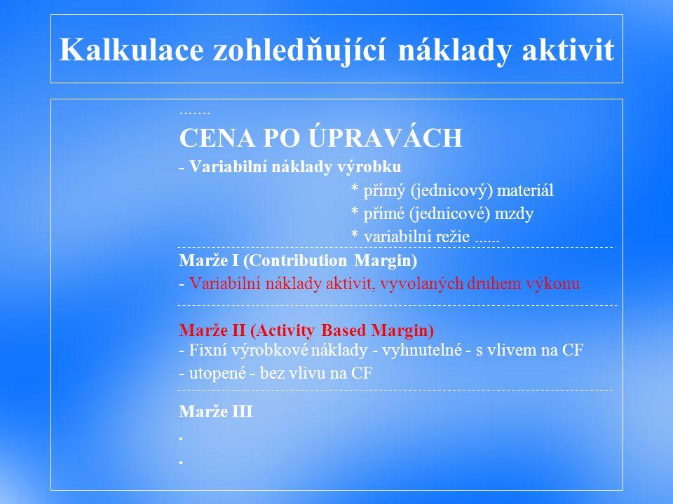 Kalkulace relevantních nákladů ……. CENA PO ÚPRAVÁCH - Variabilní náklady výrobku * přímý (jednicový) materiál * přímé (jednicové) mzdy * variabilní re