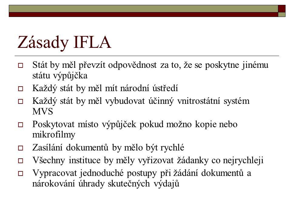 Zásady IFLA  Stát by měl převzít odpovědnost za to, že se poskytne jinému státu výpůjčka  Každý stát by měl mít národní ústředí  Každý stát by měl