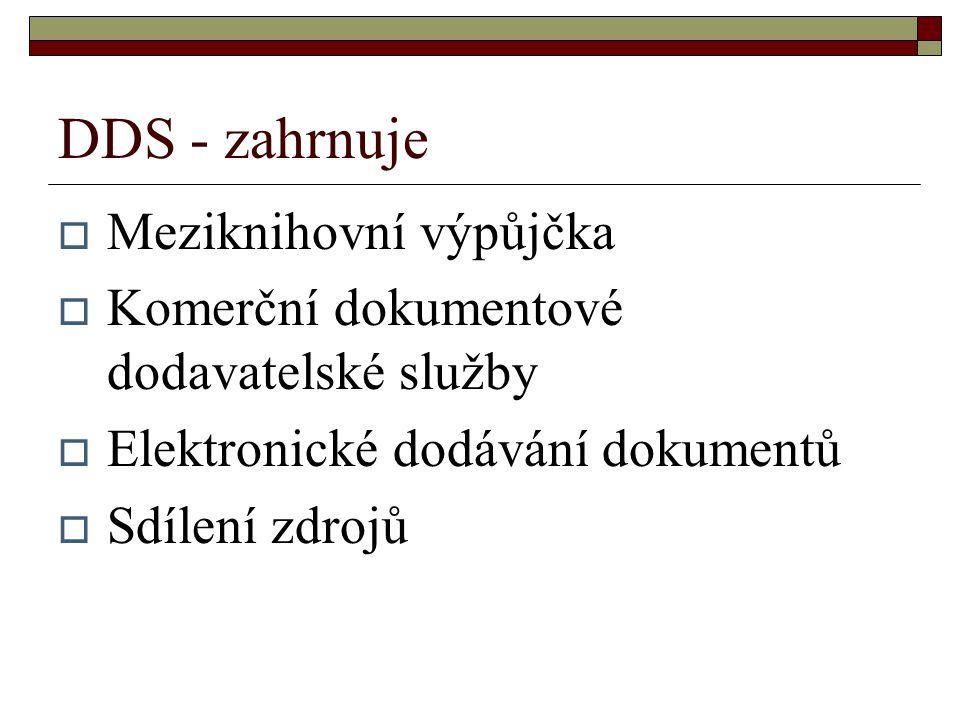DDS - zahrnuje  Meziknihovní výpůjčka  Komerční dokumentové dodavatelské služby  Elektronické dodávání dokumentů  Sdílení zdrojů