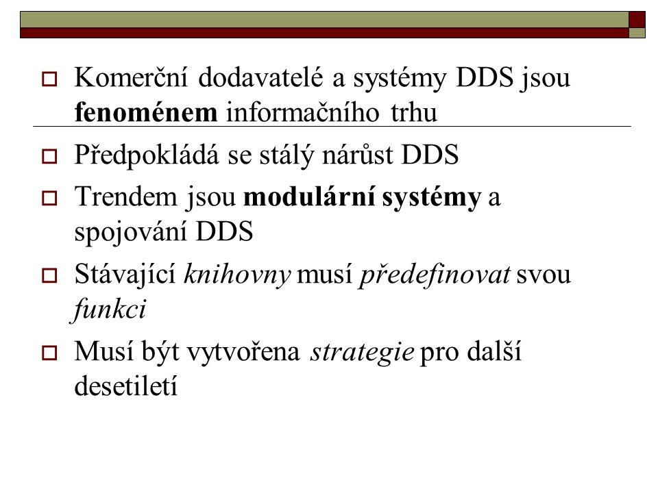  Komerční dodavatelé a systémy DDS jsou fenoménem informačního trhu  Předpokládá se stálý nárůst DDS  Trendem jsou modulární systémy a spojování DD