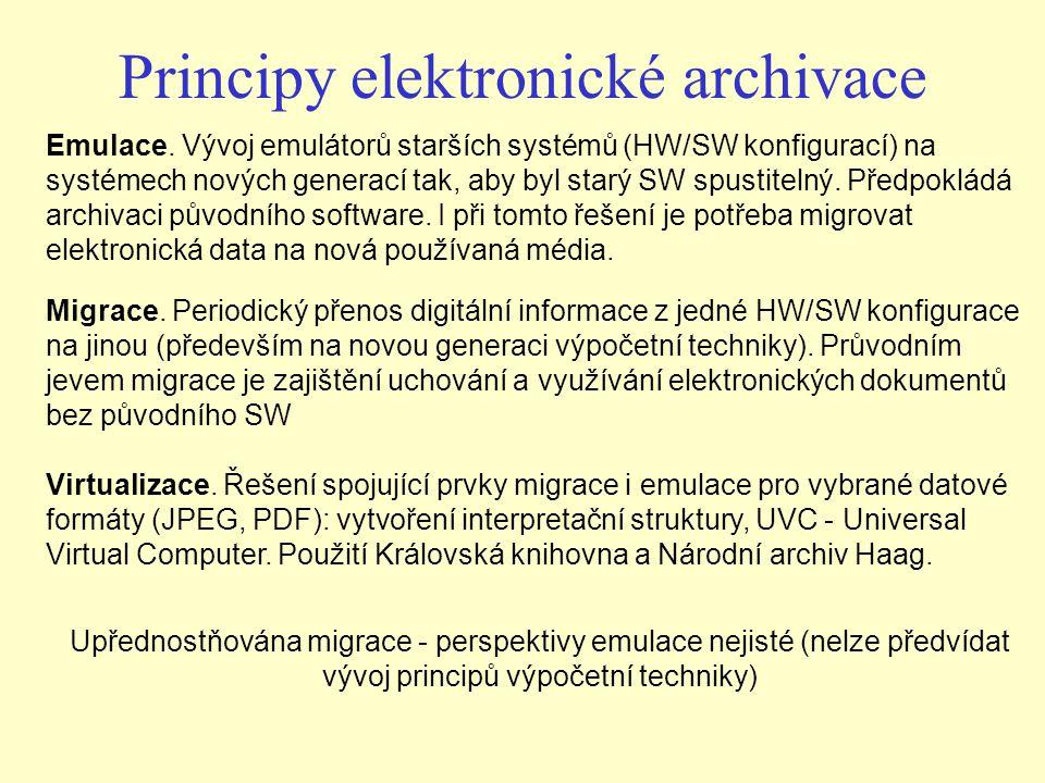 Principy elektronické archivace Migrace. Periodický přenos digitální informace z jedné HW/SW konfigurace na jinou (především na novou generaci výpočet