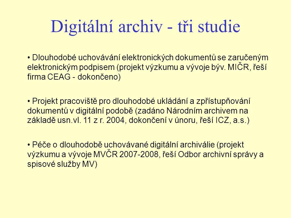 Digitální archiv - tři studie Dlouhodobé uchovávání elektronických dokumentů se zaručeným elektronickým podpisem (projekt výzkumu a vývoje býv. MIČR,