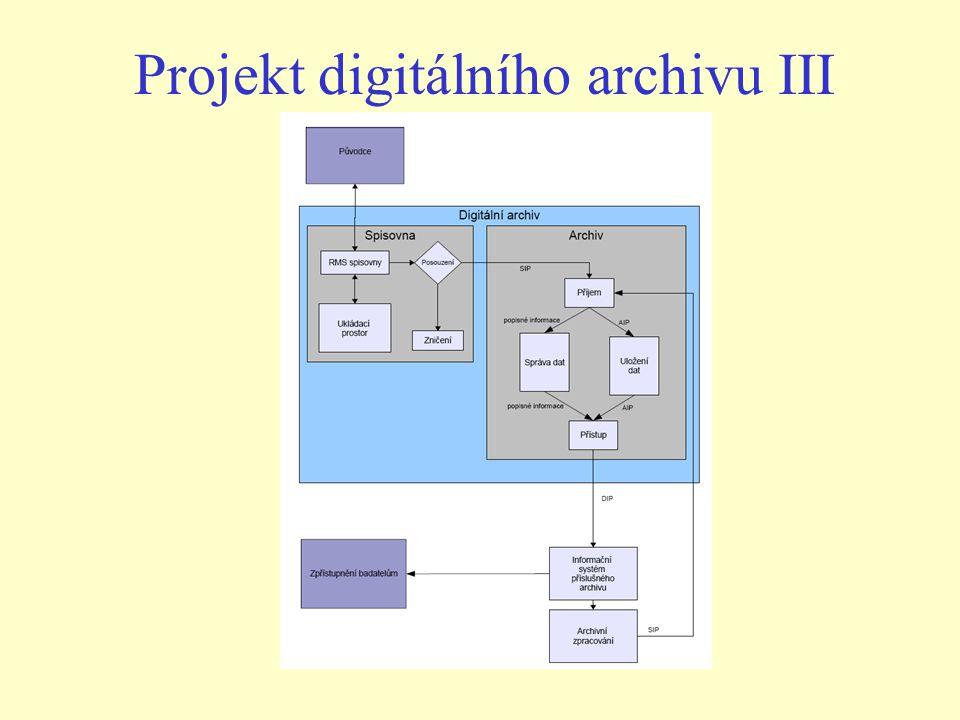 Projekt digitálního archivu III
