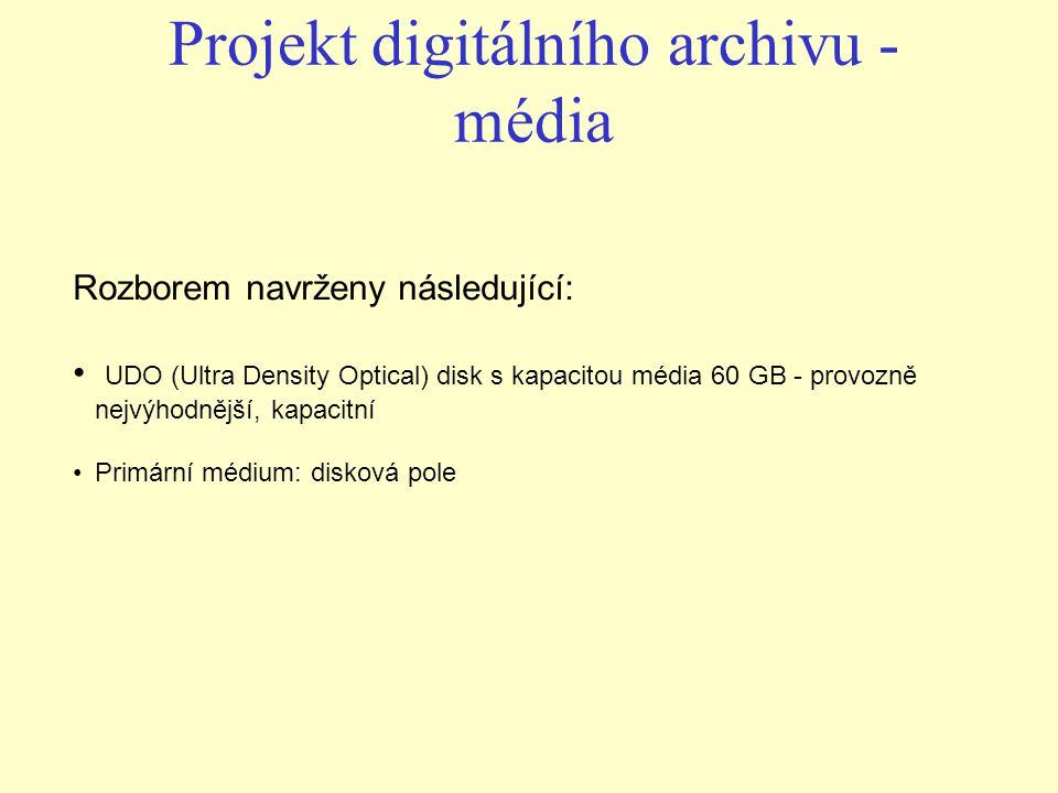 Rozborem navrženy následující: UDO (Ultra Density Optical) disk s kapacitou média 60 GB - provozně nejvýhodnější, kapacitní Primární médium: disková p
