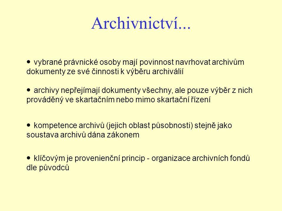 Archivnictví... vybrané právnické osoby mají povinnost navrhovat archivům dokumenty ze své činnosti k výběru archiválií archivy nepřejímají dokumenty