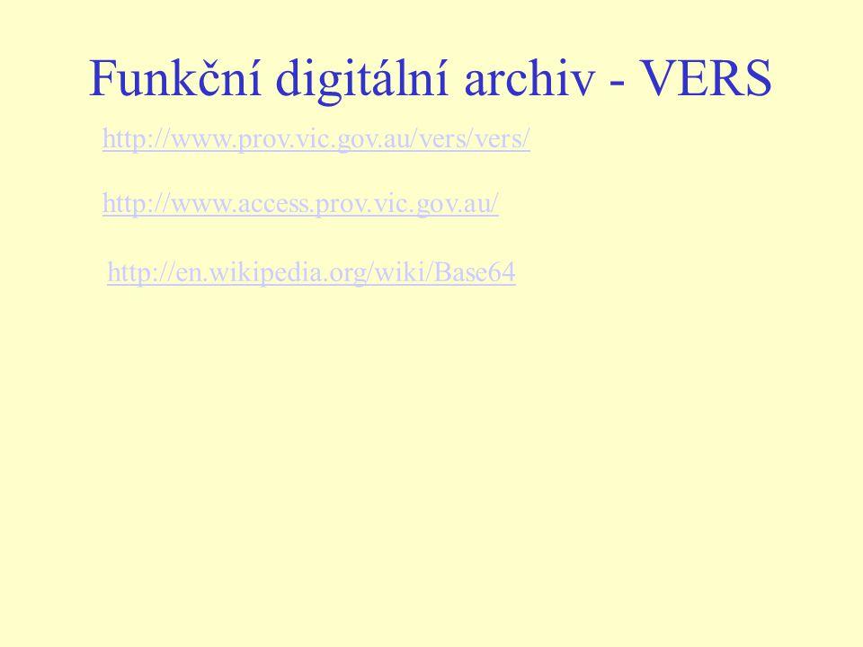 http://www.prov.vic.gov.au/vers/vers/ http://www.access.prov.vic.gov.au/ Funkční digitální archiv - VERS http://en.wikipedia.org/wiki/Base64