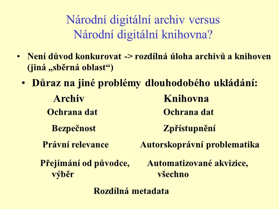 """Národní digitální archiv versus Národní digitální knihovna? Není důvod konkurovat -> rozdílná úloha archivů a knihoven (jiná """"sběrná oblast"""") Důraz na"""