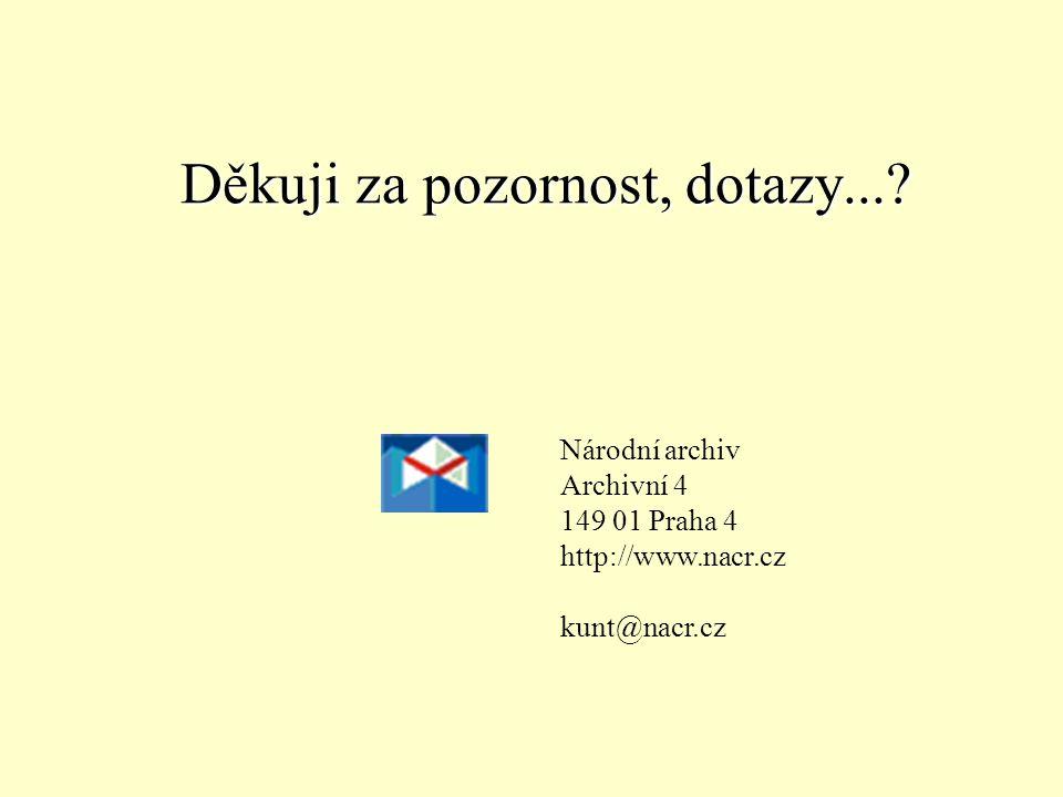 Děkuji za pozornost, dotazy...? Národní archiv Archivní 4 149 01 Praha 4 http://www.nacr.cz kunt@nacr.cz