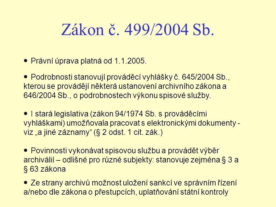 Zákon č. 499/2004 Sb. Právní úprava platná od 1.1.2005. Podrobnosti stanovují prováděcí vyhlášky č. 645/2004 Sb., kterou se provádějí některá ustanove