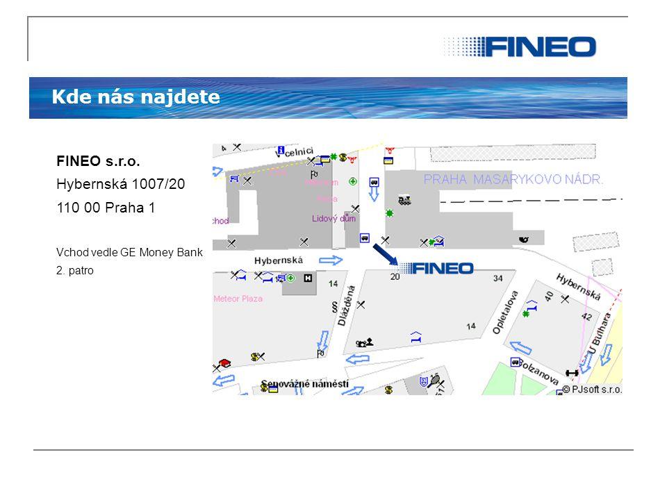 Kde nás najdete FINEO s.r.o. Hybernská 1007/20 110 00 Praha 1 Vchod vedle GE Money Bank 2. patro