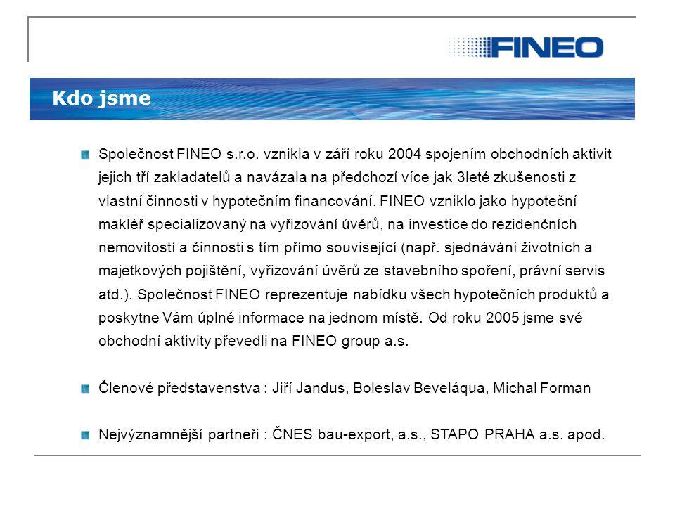 Kdo jsme Společnost FINEO s.r.o. vznikla v září roku 2004 spojením obchodních aktivit jejich tří zakladatelů a navázala na předchozí více jak 3leté zk