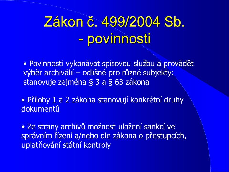 Zákon č. 499/2004 Sb. - povinnosti Povinnosti vykonávat spisovou službu a provádět výběr archiválií – odlišné pro různé subjekty: stanovuje zejména §