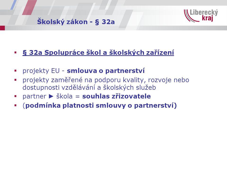 Školský zákon - § 32a  § 32a Spolupráce škol a školských zařízení  projekty EU - smlouva o partnerství  projekty zaměřené na podporu kvality, rozvo