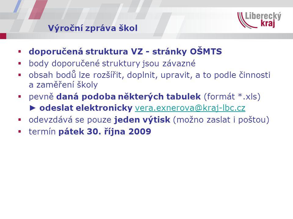 Výroční zpráva škol  doporučená struktura VZ - stránky OŠMTS  body doporučené struktury jsou závazné  obsah bodů lze rozšířit, doplnit, upravit, a to podle činnosti a zaměření školy  pevně daná podoba některých tabulek (formát *.xls) ► odeslat elektronicky vera.exnerova@kraj-lbc.czvera.exnerova@kraj-lbc.cz  odevzdává se pouze jeden výtisk (možno zaslat i poštou)  termín pátek 30.