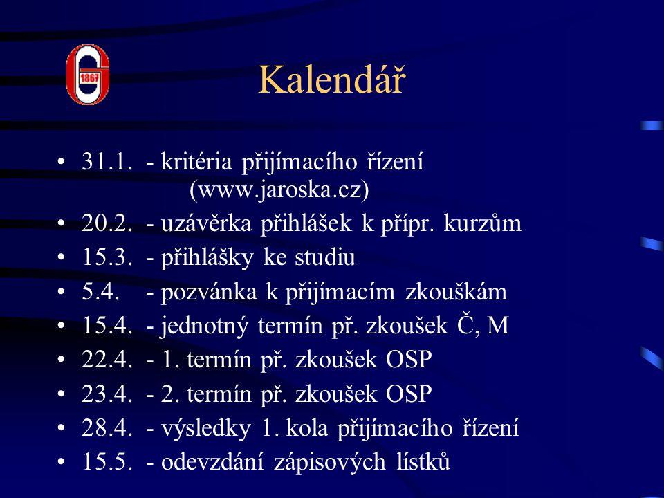 Kalendář 31.1. - kritéria přijímacího řízení (www.jaroska.cz) 20.2. - uzávěrka přihlášek k přípr. kurzům 15.3. - přihlášky ke studiu 5.4. - pozvánka k