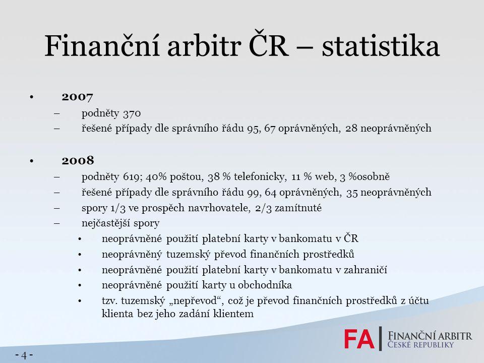Finanční arbitr ČR – statistika 2007 –podněty 370 –řešené případy dle správního řádu 95, 67 oprávněných, 28 neoprávněných 2008 –podněty 619; 40% pošto