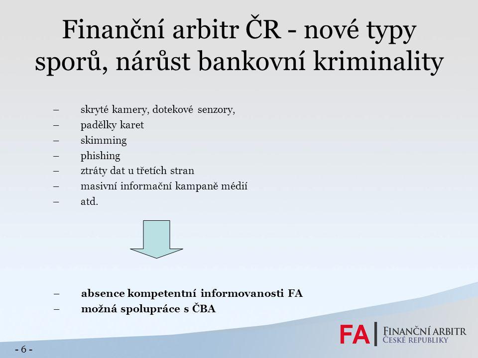 Finanční arbitr ČR - nové typy sporů, nárůst bankovní kriminality –skryté kamery, dotekové senzory, –padělky karet –skimming –phishing –ztráty dat u třetích stran –masivní informační kampaně médií –atd.