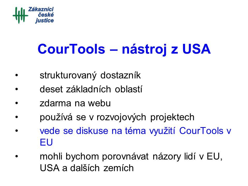 CourTools – nástroj z USA strukturovaný dostazník deset základních oblastí zdarma na webu používá se v rozvojových projektech vede se diskuse na téma využití CourTools v EU mohli bychom porovnávat názory lidí v EU, USA a dalších zemích