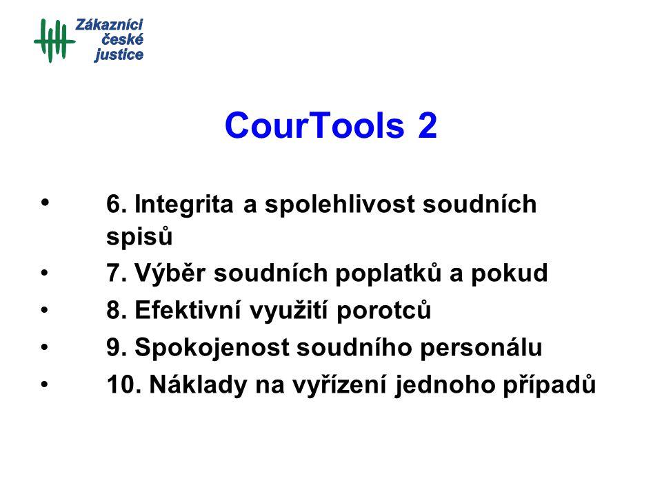 CourTools 2 6. Integrita a spolehlivost soudních spisů 7. Výběr soudních poplatků a pokud 8. Efektivní využití porotců 9. Spokojenost soudního personá