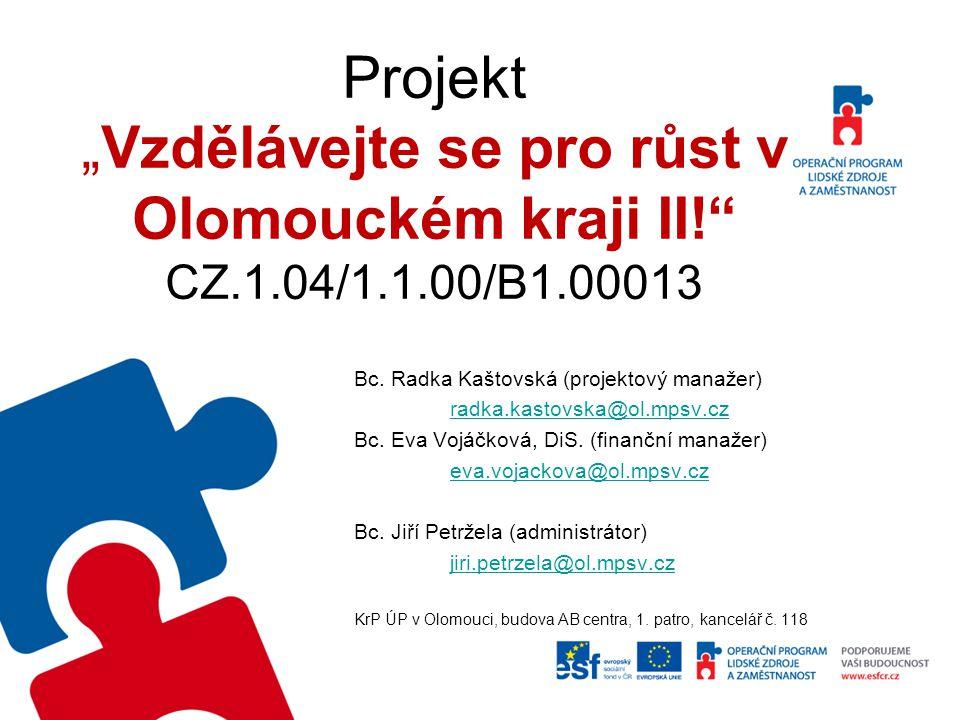 """Projekt """"Vzdělávejte se pro růst v Olomouckém kraji II!"""" CZ.1.04/1.1.00/B1.00013 Bc. Radka Kaštovská (projektový manažer) radka.kastovska@ol.mpsv.cz B"""