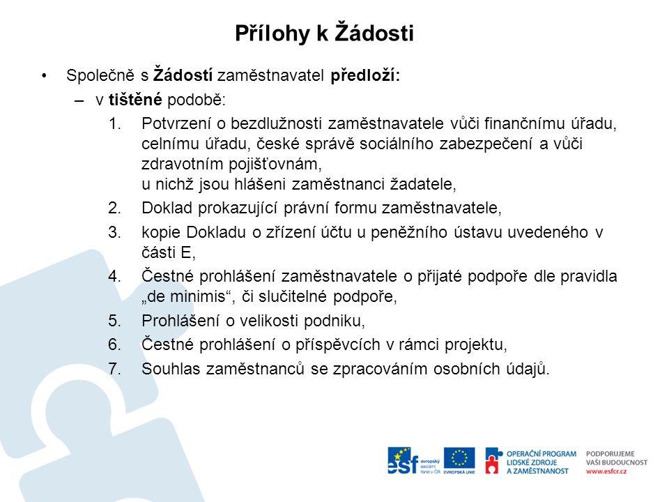 Společně s Žádostí zaměstnavatel předloží: –v tištěné podobě: 1.Potvrzení o bezdlužnosti zaměstnavatele vůči finančnímu úřadu, celnímu úřadu, české sp