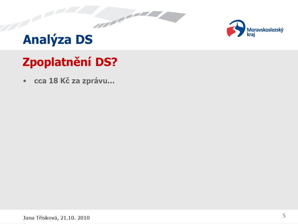Analýza DS Jana Třísková, 21.10. 2010 5 Zpoplatnění DS? cca 18 Kč za zprávu...