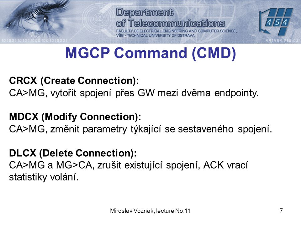 Miroslav Voznak, lecture No.118 MGCP Command (CMD) AUEP (Audit EndPoint): CA>MG, monitoruje status endpointu.