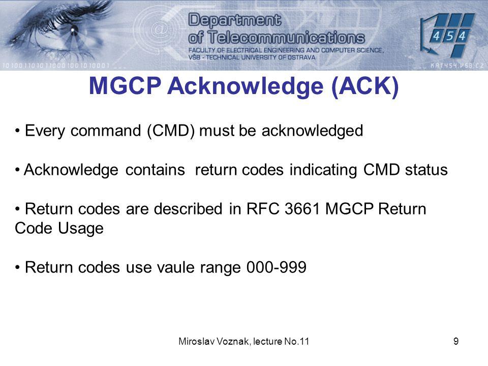 Miroslav Voznak, lecture No.1110 MGCP Acknowledge (ACK) 000-099 Response acknowledgement, potvrzení odpovědi, (např.