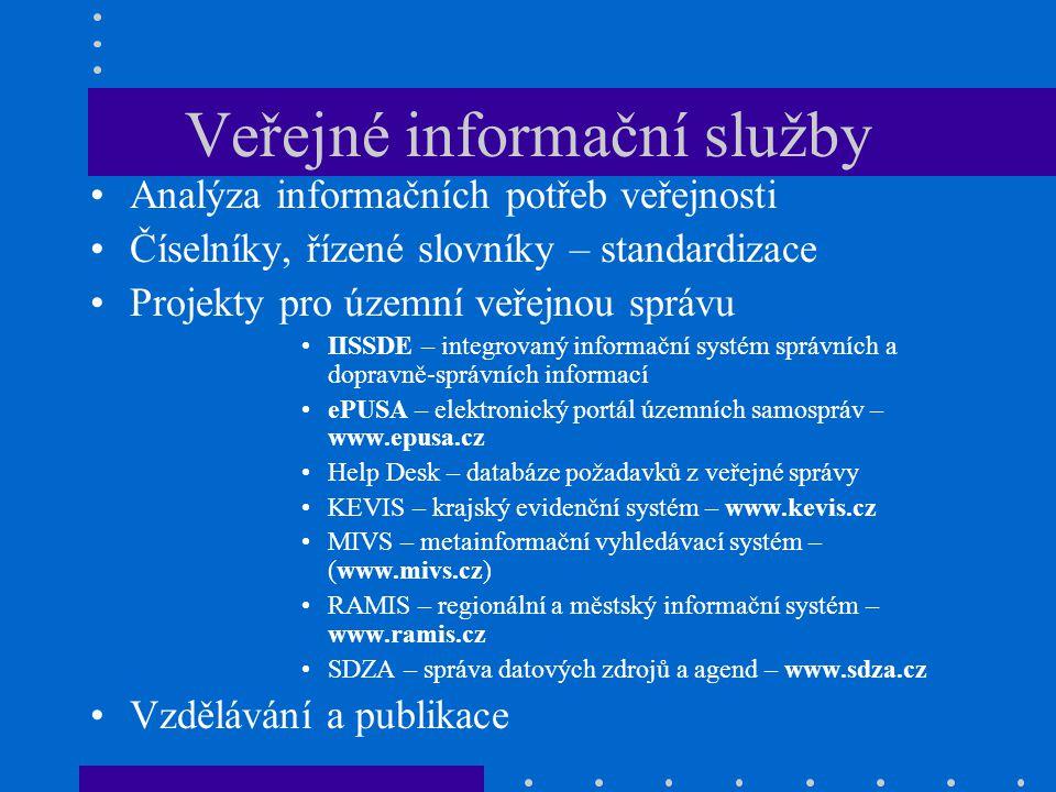Veřejné informační služby Analýza informačních potřeb veřejnosti Číselníky, řízené slovníky – standardizace Projekty pro územní veřejnou správu IISSDE