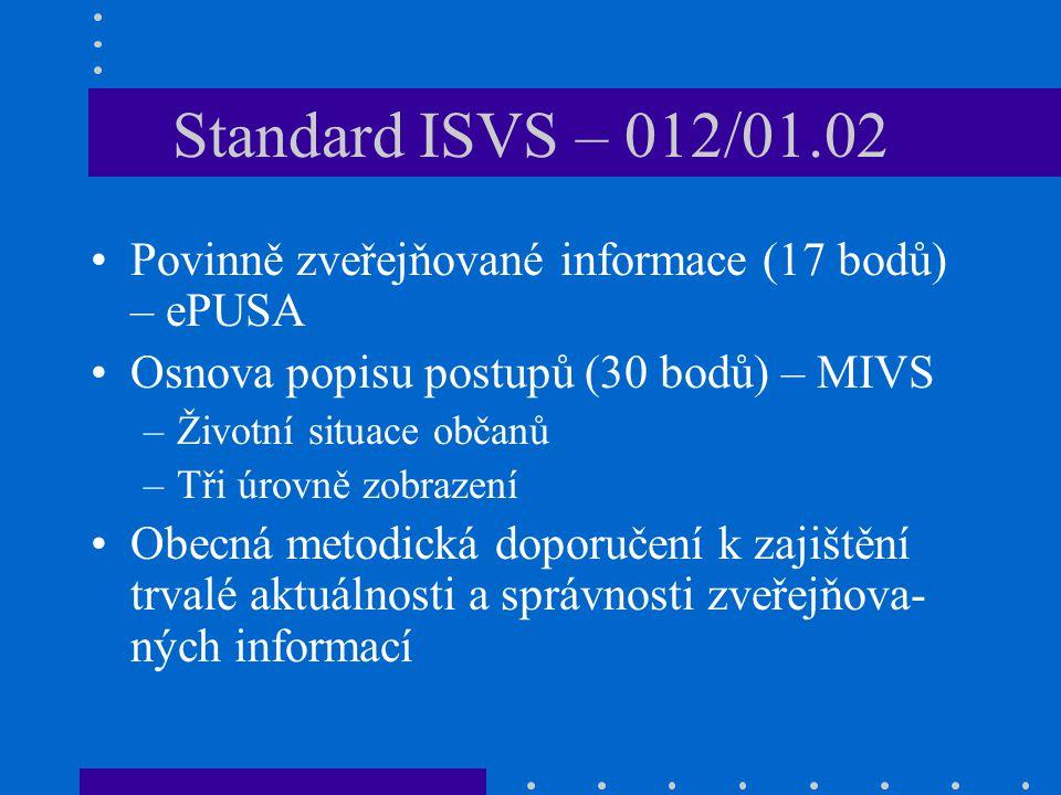Standard ISVS – 012/01.02 Povinně zveřejňované informace (17 bodů) – ePUSA Osnova popisu postupů (30 bodů) – MIVS –Životní situace občanů –Tři úrovně zobrazení Obecná metodická doporučení k zajištění trvalé aktuálnosti a správnosti zveřejňova- ných informací
