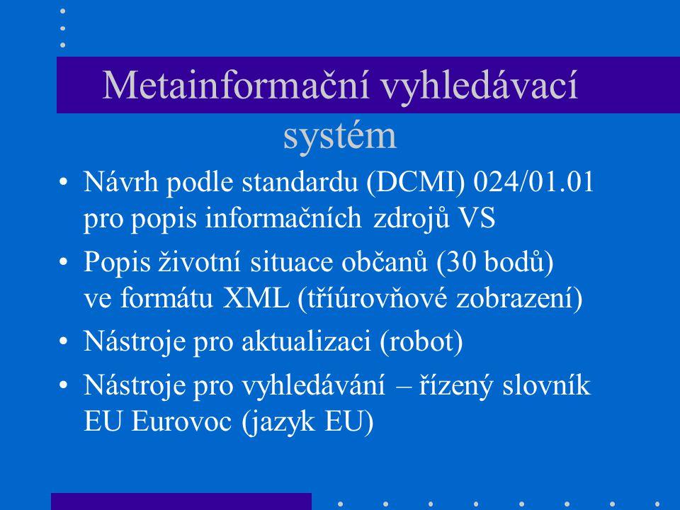 Metainformační vyhledávací systém Návrh podle standardu (DCMI) 024/01.01 pro popis informačních zdrojů VS Popis životní situace občanů (30 bodů) ve formátu XML (tříúrovňové zobrazení) Nástroje pro aktualizaci (robot) Nástroje pro vyhledávání – řízený slovník EU Eurovoc (jazyk EU)