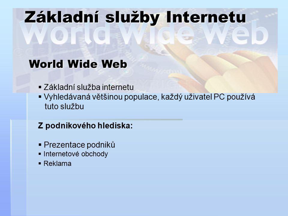 Základní služby Internetu World Wide Web  Základní služba internetu  Vyhledávaná většinou populace, každý uživatel PC používá tuto službu Z podnikov