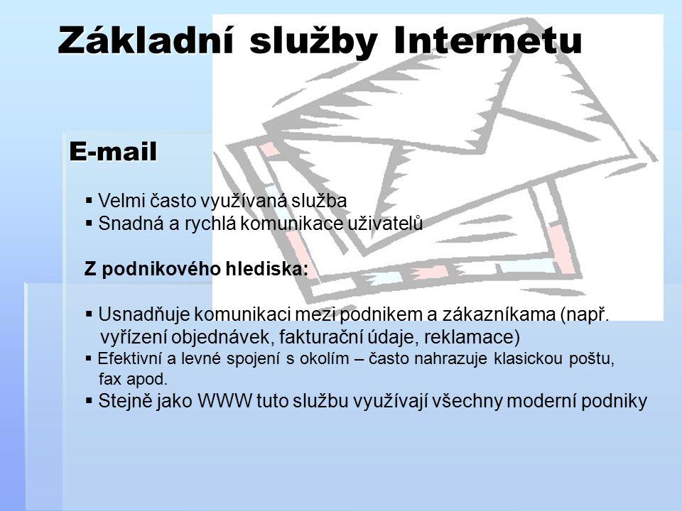 Základní služby Internetu E-mail  Velmi často využívaná služba  Snadná a rychlá komunikace uživatelů Z podnikového hlediska:  Usnadňuje komunikaci