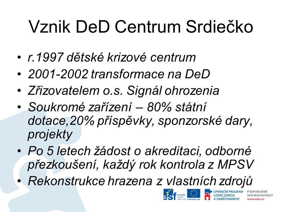 Vznik DeD Centrum Srdiečko r.1997 dětské krizové centrum 2001-2002 transformace na DeD Zřizovatelem o.s.