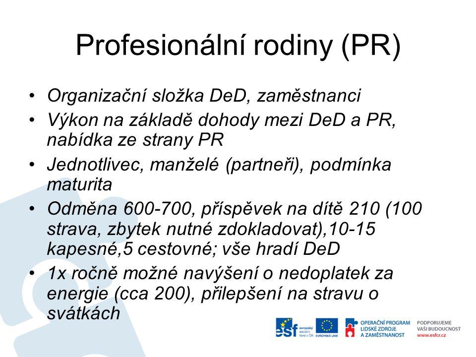 Profesionální rodiny (PR) Organizační složka DeD, zaměstnanci Výkon na základě dohody mezi DeD a PR, nabídka ze strany PR Jednotlivec, manželé (partneři), podmínka maturita Odměna 600-700, příspěvek na dítě 210 (100 strava, zbytek nutné zdokladovat),10-15 kapesné,5 cestovné; vše hradí DeD 1x ročně možné navýšení o nedoplatek za energie (cca 200), přilepšení na stravu o svátkách
