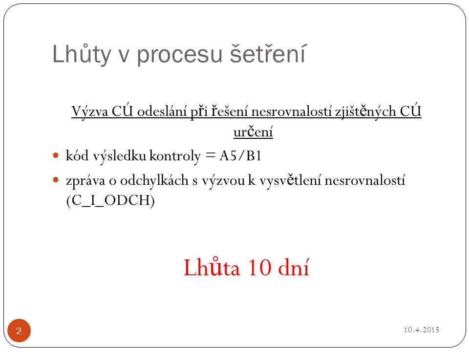 Lhůty v procesu šetření Výzva CÚ odeslání p ř i ř ešení nesrovnalostí zjišt ě ných CÚ ur č ení kód výsledku kontroly = A5/B1 zpráva o odchylkách s výzvou k vysv ě tlení nesrovnalostí (C_I_ODCH) Lh ů ta 10 dní 10.4.2015 2