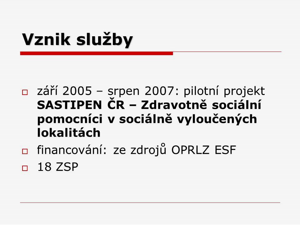 Vznik služby  září 2005 – srpen 2007: pilotní projekt SASTIPEN ČR – Zdravotně sociální pomocníci v sociálně vyloučených lokalitách  financování: ze zdrojů OPRLZ ESF  18 ZSP