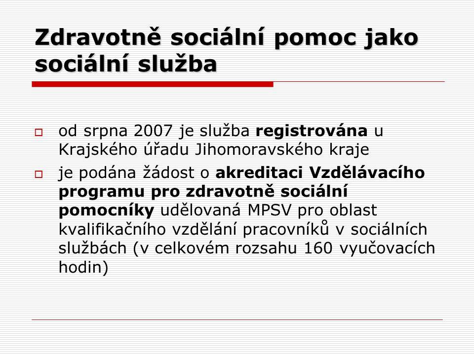 Zdravotně sociální pomoc jako sociální služba  od srpna 2007 je služba registrována u Krajského úřadu Jihomoravského kraje  je podána žádost o akreditaci Vzdělávacího programu pro zdravotně sociální pomocníky udělovaná MPSV pro oblast kvalifikačního vzdělání pracovníků v sociálních službách (v celkovém rozsahu 160 vyučovacích hodin)