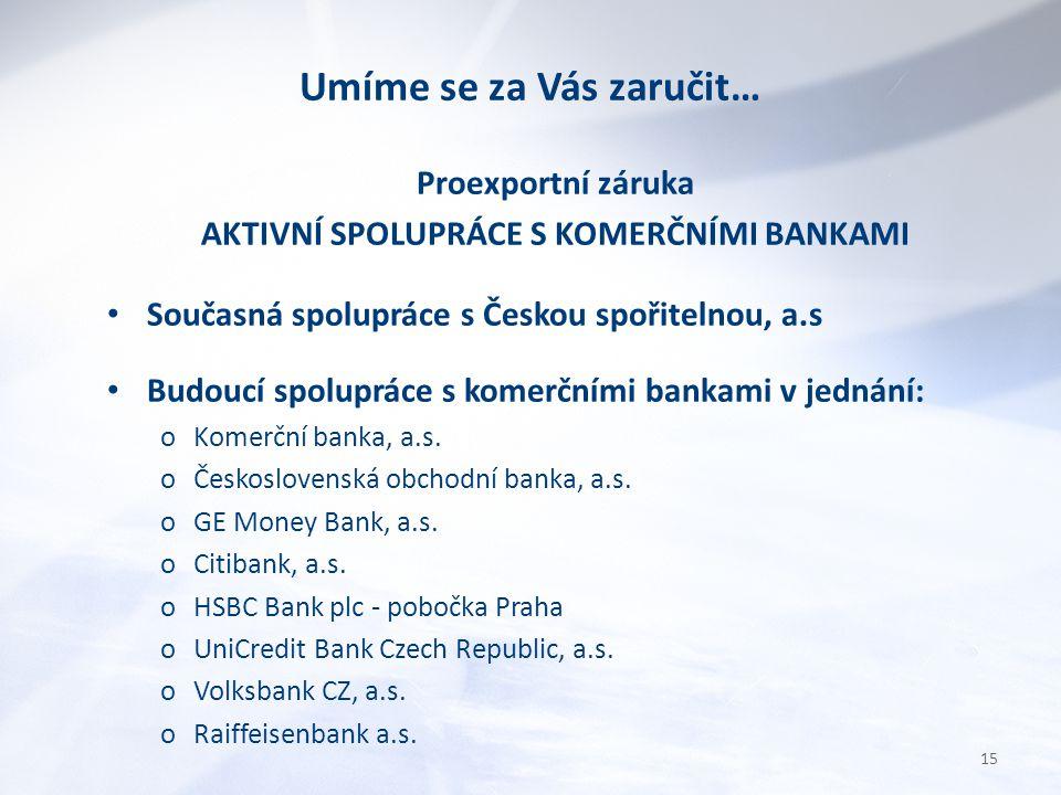 Umíme se za Vás zaručit… Proexportní záruka AKTIVNÍ SPOLUPRÁCE S KOMERČNÍMI BANKAMI Současná spolupráce s Českou spořitelnou, a.s Budoucí spolupráce s komerčními bankami v jednání: oKomerční banka, a.s.