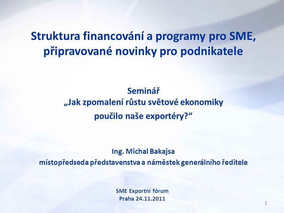 """Struktura financování a programy pro SME, připravované novinky pro podnikatele Seminář """"Jak zpomalení růstu světové ekonomiky poučilo naše exportéry? Ing."""