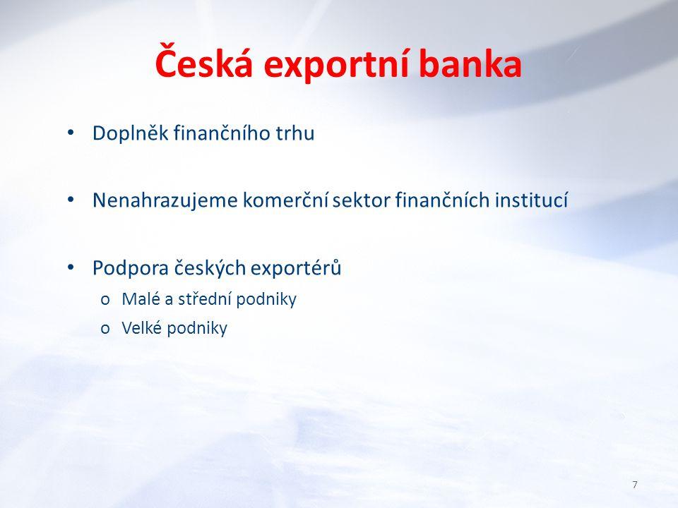 Česká exportní banka Doplněk finančního trhu Nenahrazujeme komerční sektor finančních institucí Podpora českých exportérů oMalé a střední podniky oVelké podniky 7