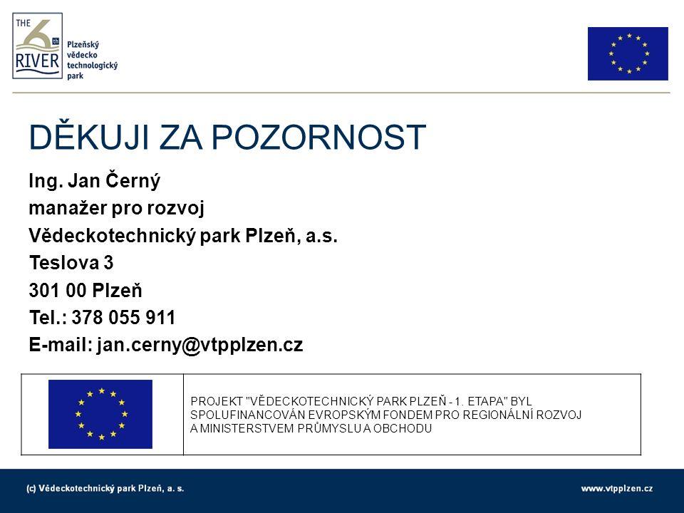 DĚKUJI ZA POZORNOST Ing. Jan Černý manažer pro rozvoj Vědeckotechnický park Plzeň, a.s.