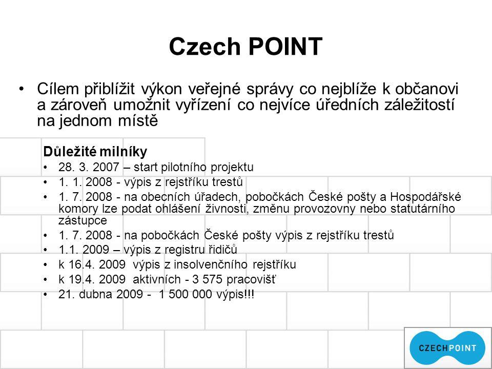 Czech POINT Cílem přiblížit výkon veřejné správy co nejblíže k občanovi a zároveň umožnit vyřízení co nejvíce úředních záležitostí na jednom místě Důl