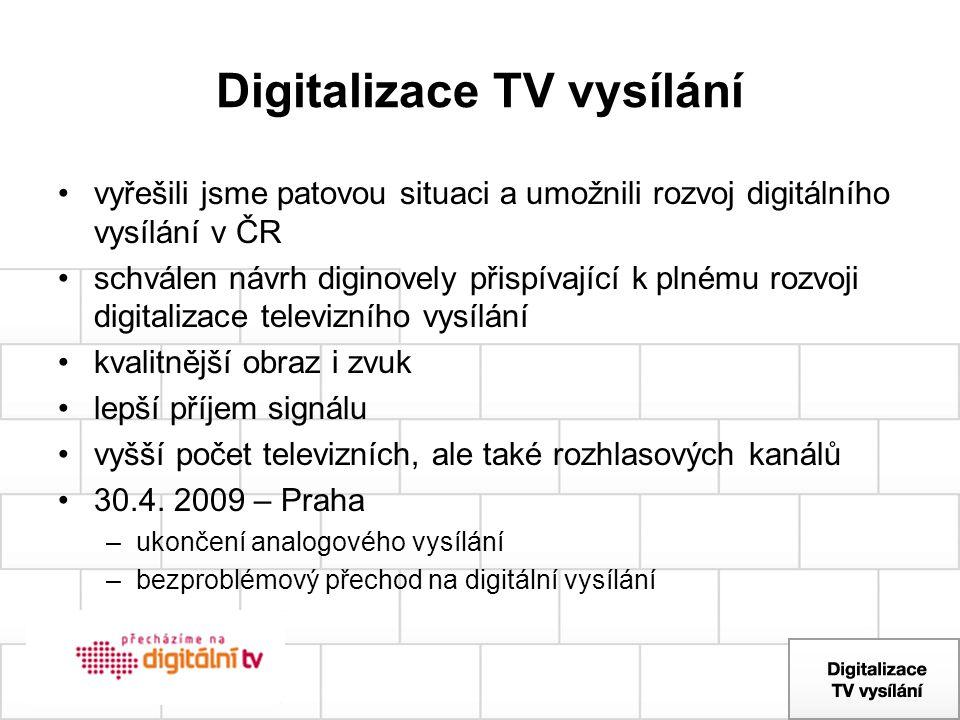 Digitalizace TV vysílání vyřešili jsme patovou situaci a umožnili rozvoj digitálního vysílání v ČR schválen návrh diginovely přispívající k plnému roz