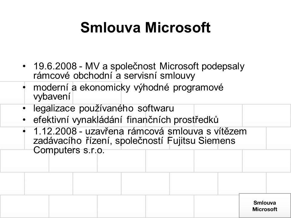 Smlouva Microsoft 19.6.2008 - MV a společnost Microsoft podepsaly rámcové obchodní a servisní smlouvy moderní a ekonomicky výhodné programové vybavení